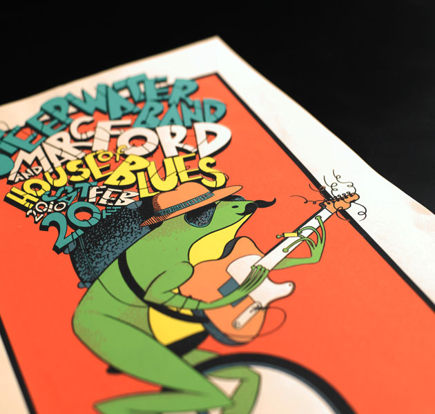 steepwaterband-marcford-screen-print-poster-unicycle-frog-kylebaker