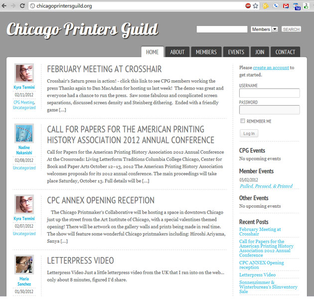 Chicago Printers Guild Website