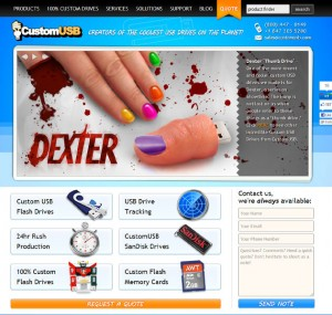 CustomUSB Home Page with Dexter Thumb