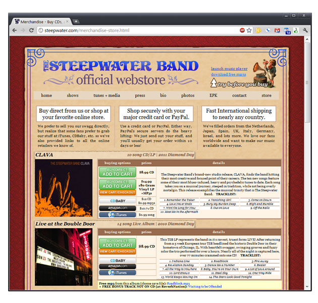 Steepwater Band Website