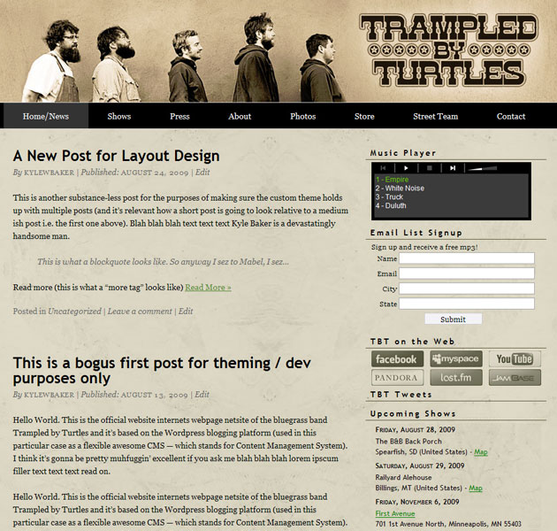Trampled By Turtles official website 2009