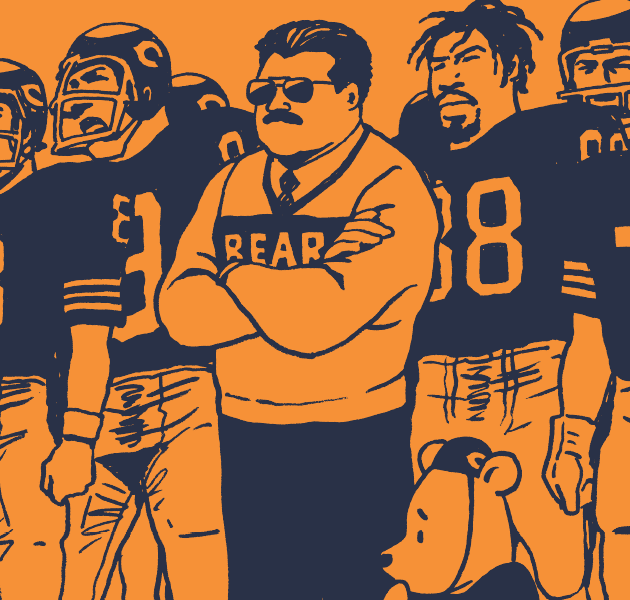 Coach Ditka, Bears players, and Pooh Bear