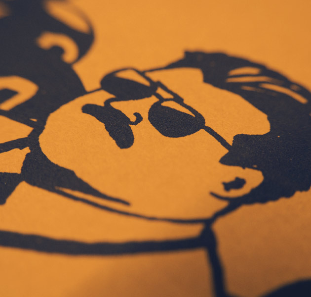 close-up on navy-and-orange drawing of Coach Ditka