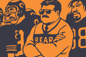 orange-and-navy drawing of Coach Ditka