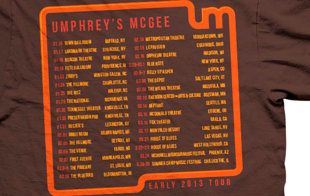 Umphrey's McGee 2013 early tour tee back