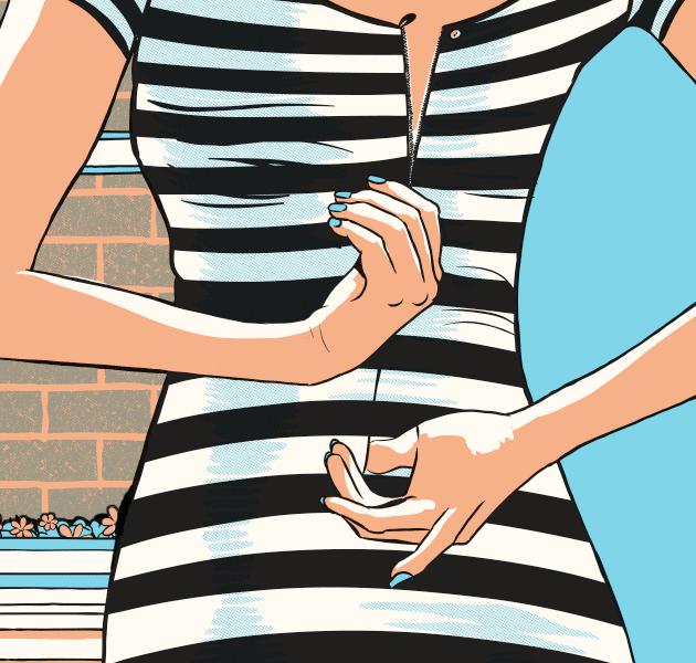 lean woman zipping up striped dress