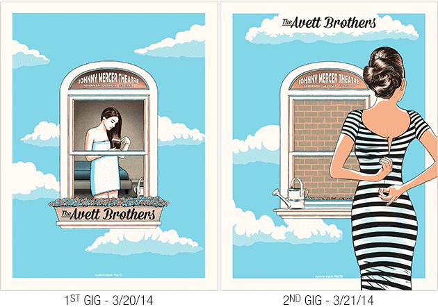 Baker Prints' Avett Brothers 2014 Savannah, GA poster diptych