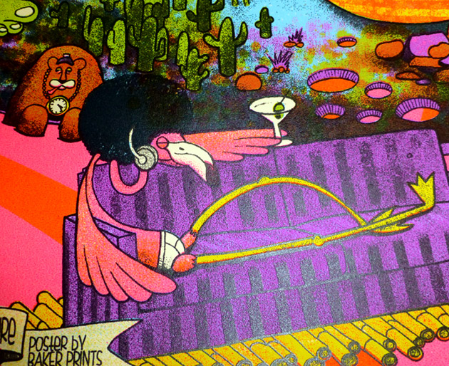 close up detail of a funky flamingo wearing just briefs underwear, sporting an afro, listening to headphones, and enjoying a martini while relaxed on a purple striped couch