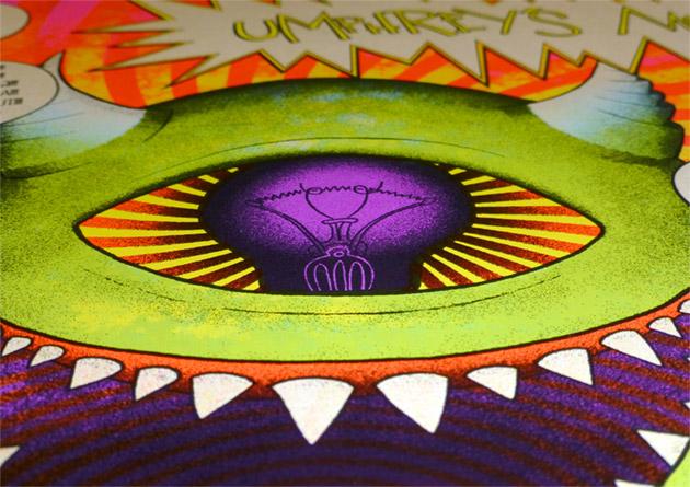 close up on monster's UV light-bulb eyeball