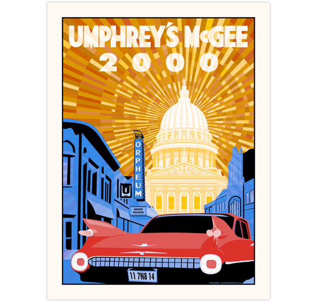 Poster for Umphrey's 1999th and 2000th shows, at the Orpheum Theater in Madison, WI