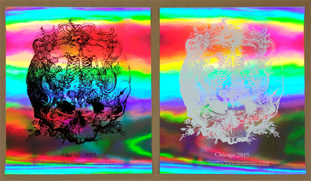 Dead50 art print in black ink and white ink on rainbow foil cardstock