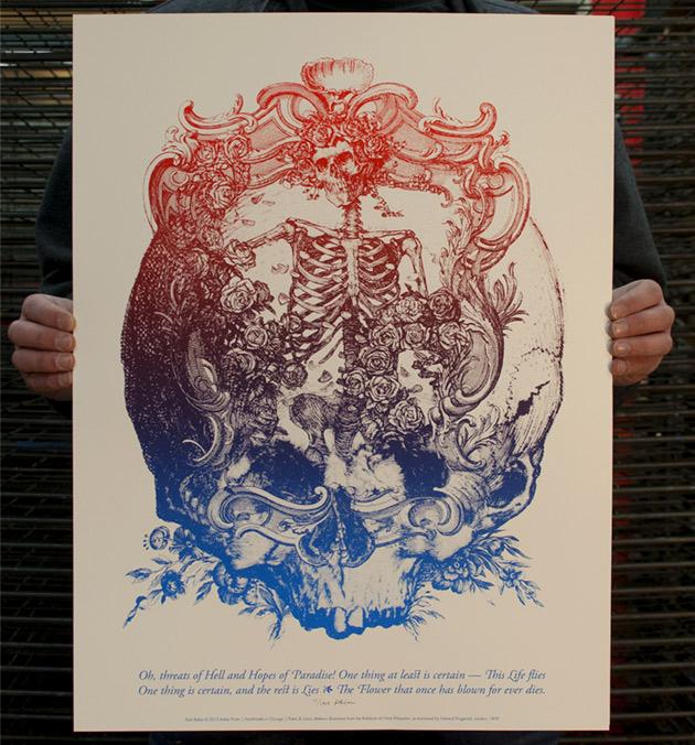 "Kyle Baker's Grateful Dead-inspired art print featuring the ""Bertha"" from Fitzgerald's translation of the Rubaiyat of Omar Khayyam"