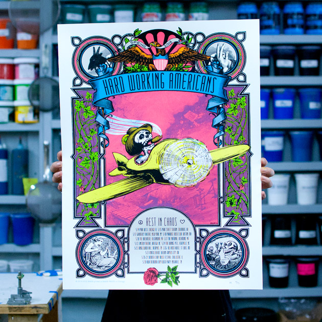 Hard Working Americans sprint 2016 silkscreen tour poster by Baker Prints