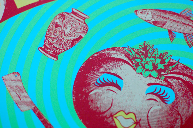 Little Feat silkscreen poster close up of Hot Tomato lady