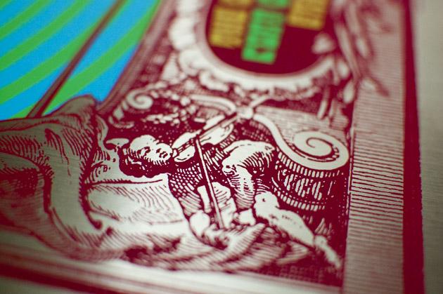 Little Feat silkscreen poster close up of gold foil variant