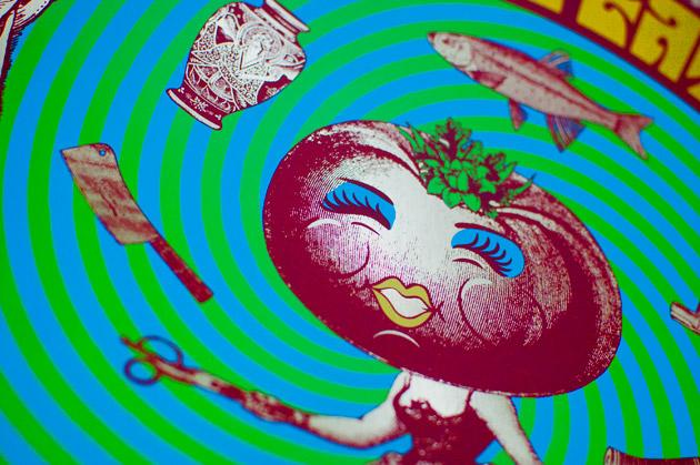 Little Feat silkscreen poster close up of swirly tomato gal