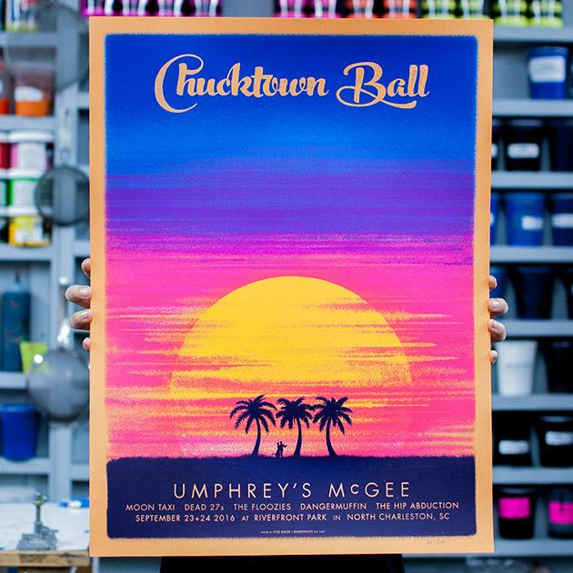Umphrey's McGee 2016 Chucktown Ball official event poster by Kyle Baker, Baker Prints