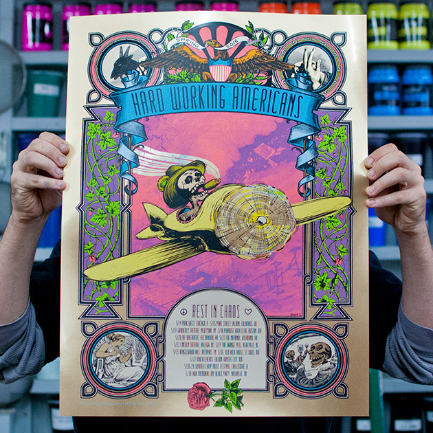 Hard Working Americans Rest In Chaos 2016 Spring Tour poster, brushed gold variant edition