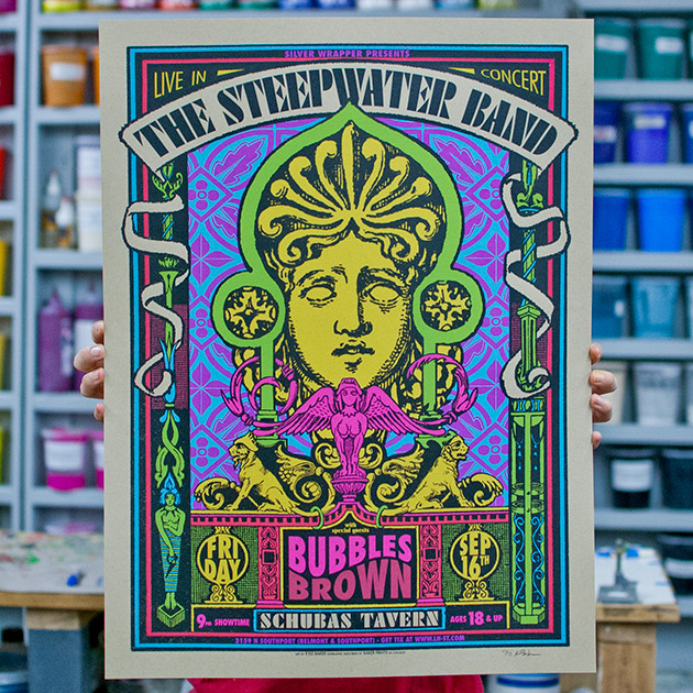 The Steepwater Band live at Schubas in Chicago silkscreen gig poster September 2016 by Kyle Baker, Baker Prints