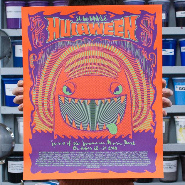 Suwannee Hulaween 2016 silkscreen gig poster by Kyle Baker