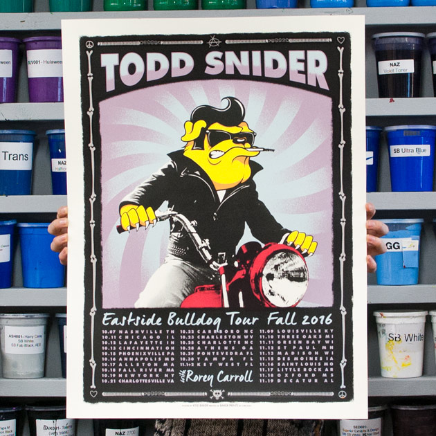 Todd Snider Eastside Bulldog 2016 Tour Poster