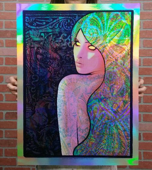 "Rainbow Foil variant edition of Kyle Baker's ""Pythoness"" silkscreen art print"