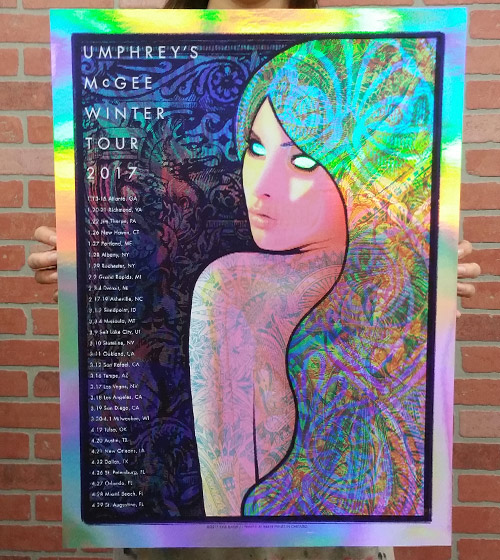 Umphrey's McGee official 2017 Winter Tour poster by Baker Prints - Rainbow Foil Variant