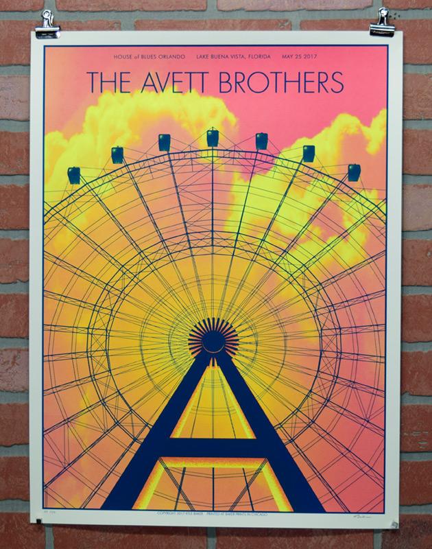 The Avett Borthers Orlando 2017 gig poster ferris wheel