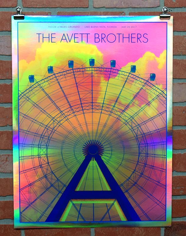 The Avett Borthers Orlando 2017 gig poster Rainbow Foil Variant