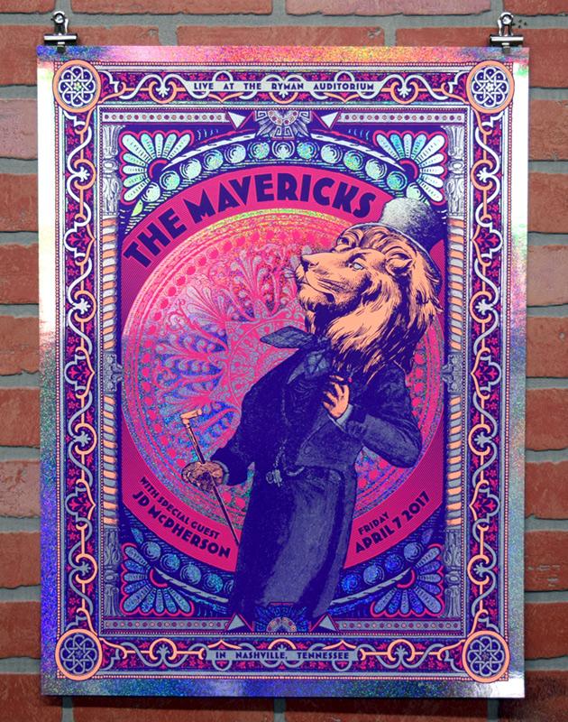 The Mavericks at the Ryman Auditorium 2017 gig poster - sparkle foil variant edition