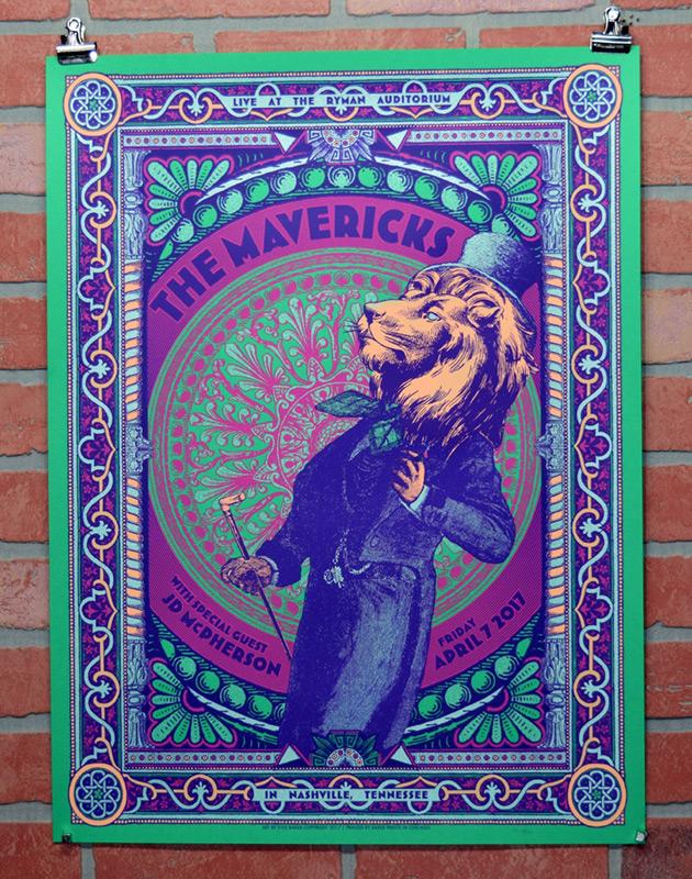 The Mavericks at the Ryman Auditorium 2017 gig poster